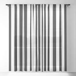 Stripe Black And White Vertical Line Bold Minimalism Sheer Curtain