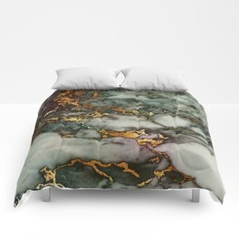Gray Green Marble Glitter Gold Metallic Foil Style Comforters