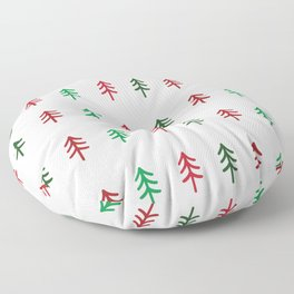 Hand drawn forest green and red trees for Christmas time Floor Pillow
