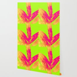 Green and Ultra Bright Coral Fern Wallpaper