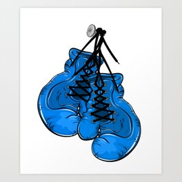Blue boxing gloves hanging on a nail Art Print