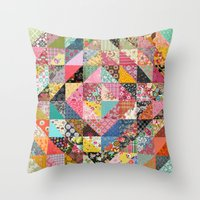 fabric Throw Pillows featuring Grandma's Quilt by Rachel Caldwell