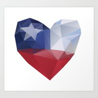 chile Art Prints featuring Chile Heart by Favio Torres