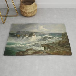 The Rhine Waterfalls, Switzerland landscape painting Christian Morgenstern Rug
