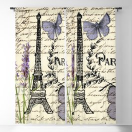 french botanical print purple butterfly lavender floral paris eiffel tower Blackout Curtain