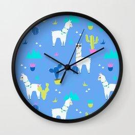 Desert Llamas on Blue Wall Clock