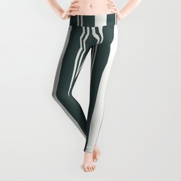 Delicate White PPG1001-1 Thick and Thin Vertical Stripes on Night Watch Color of the Year PPG1145-7 Leggings