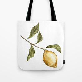 Lemon Decor, Lemon Decoration, Rustic Painting, Lemon Watercolor Tote Bag