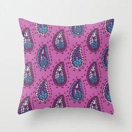 Hand drawn paisley damask illustration Throw Pillow
