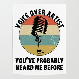 Voice Over Artist Shirt Vintage Microphone Voice Actor Gift Poster