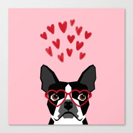 Boston Terrier head love hearts valentines day dog breed must have gifts Canvas Print