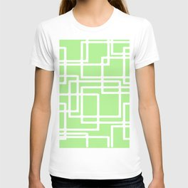 Retro Modern Rectangles On Pastel Green T-shirt