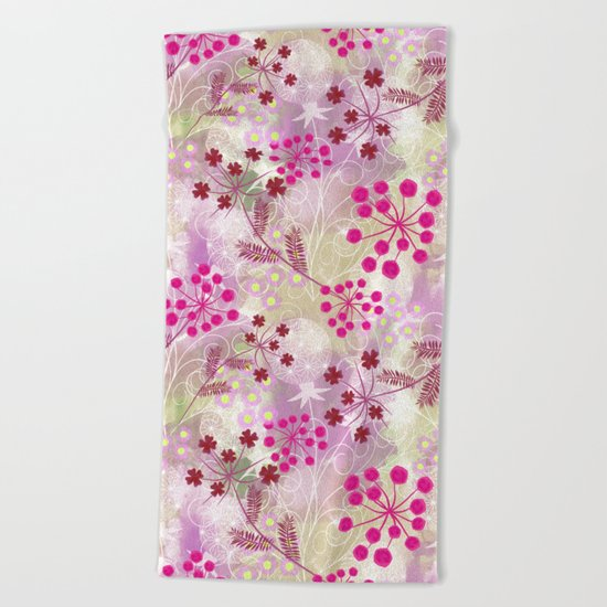 bright floral pattern ,watercolor background. Beach Towel