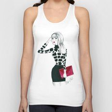 Giraffe Print Fashion Model Watercolor Unisex Tank Top