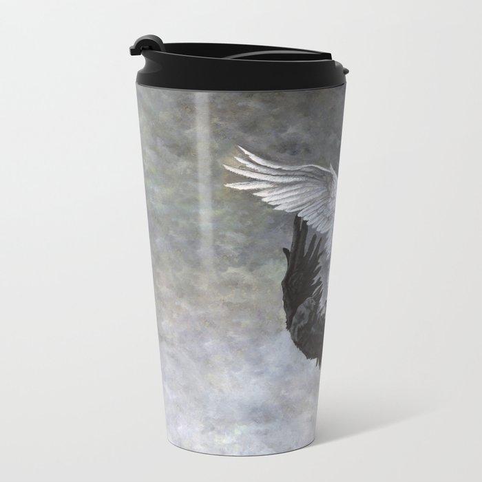 Yin Yang Owl and Raven Metal Travel Mug