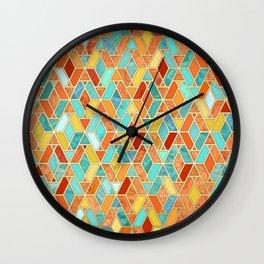 Tangerine & Turquoise Geometric Tile Pattern Wall Clock