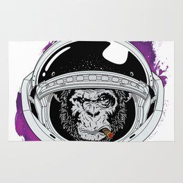 Space Monkey Purple Rug