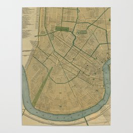 Vintage Map of New Orleans Louisiana (1893) Poster