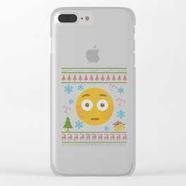 Flushed Shocked Emoticon Christmas Ugly Shirt Icon Clear iPhone Case
