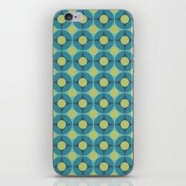 Geometric Circle Pattern Mid Century Modern Retro Blue Green iPhone Skin