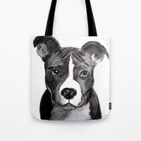 pit bull Tote Bags featuring Pit Bull Dogs Lovers by Gooberella