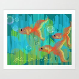 The Three Itty Bitties - Fish with an Orange Yellow Blue and Green Palette Art Print