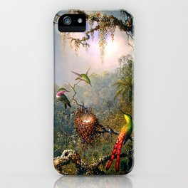 Nature's Fantasy : Cattyela Orchid and Three Brazilian Hummingbirds iPhone Case
