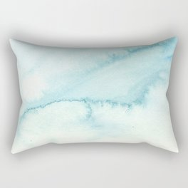 Abstract hand painted blue teal watercolor paint pattern Rectangular Pillow