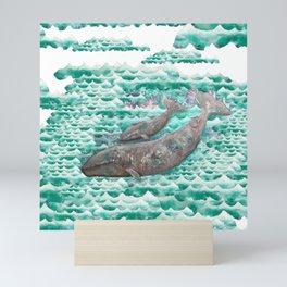 Mama + Baby Gray Whale in Ocean Clouds Mini Art Print