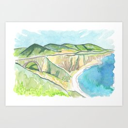 Big Sur Bixby Bridge Watercolor Art Print