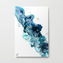 Alcohol Ink Blue Swipe Metal Print