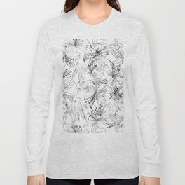 lily sketch black and white pattern Long Sleeve T-shirt