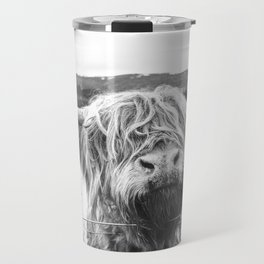 Highland Cow Nose Barbed Wire Fence Black and White Travel Mug