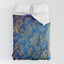 Glitter Gold Leaves Pattern On Jewel-Tone Royal Blue Comforters
