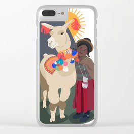 Llama and girl Clear iPhone Case