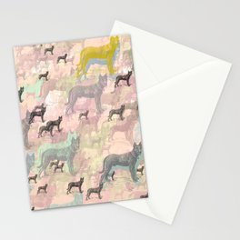 Sky Dogs - Abstract Geometric pink mauve mint grey orange Stationery Cards