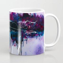 Dawn, pink and fushia black and blue acrylic abstract artwork Coffee Mug