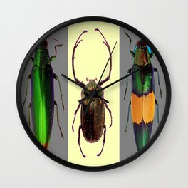 BEETLES ON CREAM & GREY  ABSTRACT ART Wall Clock