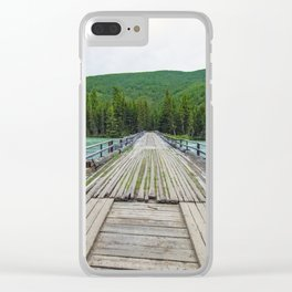 Wooden bridge across mountain stream. Altai Republic, Russia. Clear iPhone Case