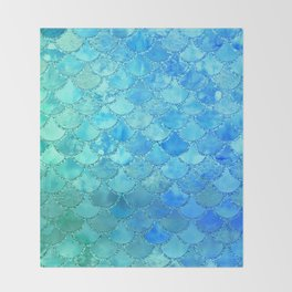 Summer Dream Colorful Trendy Mermaid Scales Throw Blanket