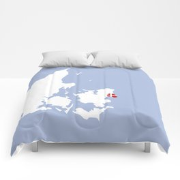 Denmark - Country Map Print Comforters