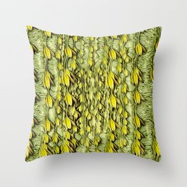 flower paradise moon shining in the floral jungle painting Throw Pillow
