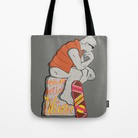 mcfly Tote Bags featuring Think Mcfly, Think! by Hoborobo