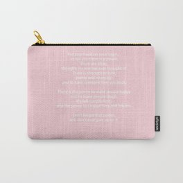 Pastel Pink Inspiration Never Give Up Carry-All Pouch