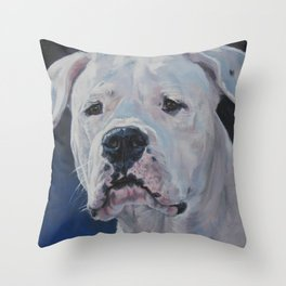 The Dogo Argentino dog art portrait from an original painting by L.A.Shepard Throw Pillow
