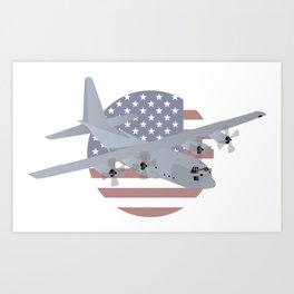 Air Force C-130 Hercules with US Flag Art Print