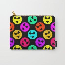 Smiley Bikini Bright Neon Smiles on Black Carry-All Pouch