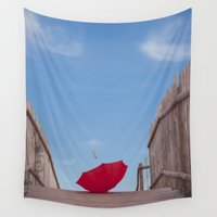 umbrella Wall Tapestries featuring Lost umbrella  by Maria Heyens