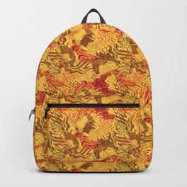 cute seamless abstract grass flower line pattern yellow red Backpack