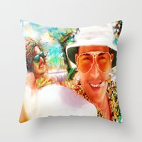 fear and loathing Throw Pillows featuring Fear and Loathing in Las Vegas by ururuty